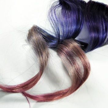 Purple extension, human hair extension, lavender clip in // Blue hair // Tie Dye Colored Hair // ROYAL LADY