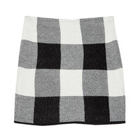 Check Knit Mini Skirt