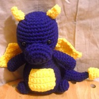 Handmade Crochet Blue Dragon Stuffed Animal Made To Order