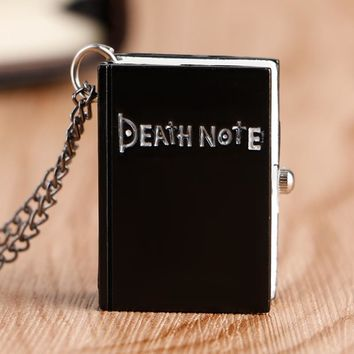 Modern Japanese Anime Death Note Book Shape Casual Black Women Men Pocket Watch with Necklace Chain Full Hunter Fob Watch