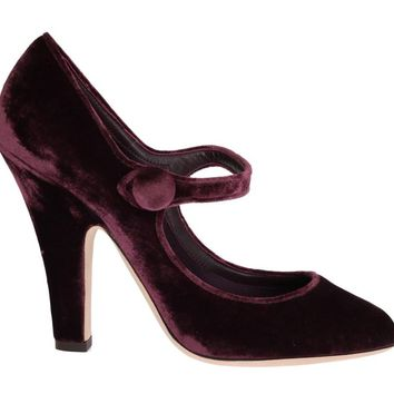 Purple Velvet Mary Janes Leather Shoes