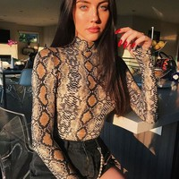 Autumn and winter snake print Slim primer high-necked long sleeve t-shirt sculpting body suit