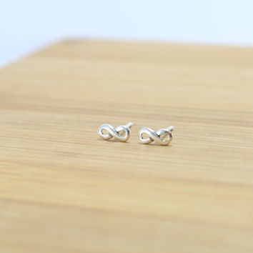 Infinity Sterling Silver studs, Eternity silver post earrings, infinity earrings, sterling silver stud, Cartilage stud, Everyday jewelry