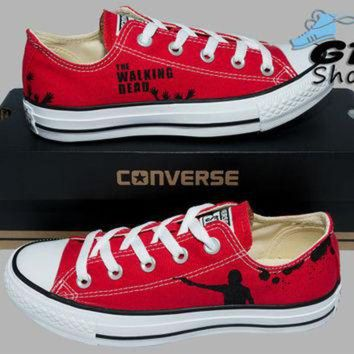 DCKL9 Hand Painted Converse Low. The Walking Dead. Rick Grimes. Walkers. Handpainted shoes.
