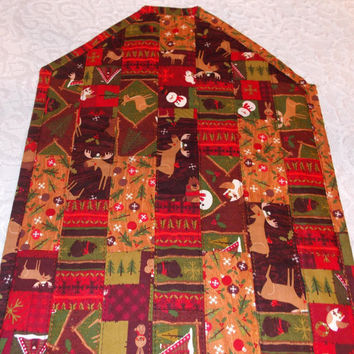 Rustic Christmas Table Runner Quilt in Woodland Animals print