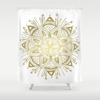 Mandala - Gold Shower Curtain by Heather Dutton
