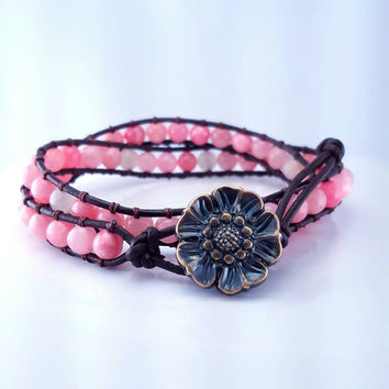 Coral gemstone wrap bracelet // boho beaded wrap bracelet // rose quartz // double wrap // pink