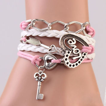 2016 New Handmade Bracelet Lock key Cupid's Arrow Charms Infinity Bracelet White Pink Leather Bracelet Women Best Couple Gift