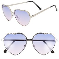 Women's Tildon 60mm Metal Heart Shaped Sunglasses - Silver