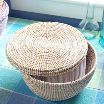 White Lidded African Storage Basket