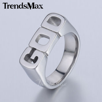 Silver Tone Letter GOD 316L Stainless Steel Band Ring Mens Womens Fashion Jewelry HR423