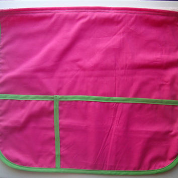 Bed Pocket Caddy Organizer - Pink and Lime Green Book and Phone Storage