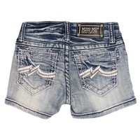 Miss Me Jeans White Leather Wave Girls Denim Shorts | D&D Farm and Ranch