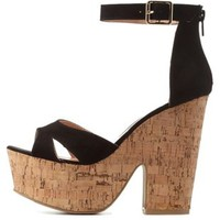 Black Two-Piece Chunky Platform Heels by Charlotte Russe