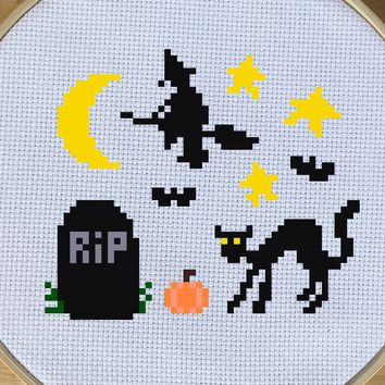 Beginner Halloween Cross Stitch Pattern - Graveyard