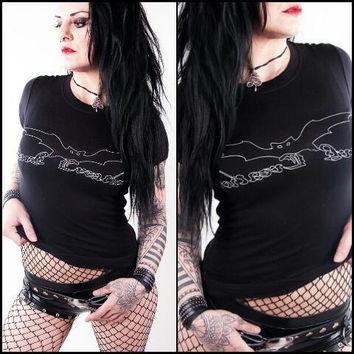 Dark Creations Shirt - Biker Gothic Heavy Metal Deathrock Blackmetal Used Destroyed Bats Hot Sexy