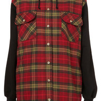 Checked Hooded Jacket - Jackets & Coats  - Clothing  - Topshop