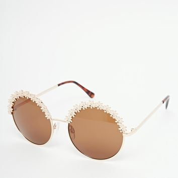 River Island Metal Round Floral Sunglasses