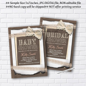 baby Shower OR bridal shower,  burlap baby shower invitation Vintage Rustic Lace baby boy baby girl shower Invitation Sackcloth - card 285