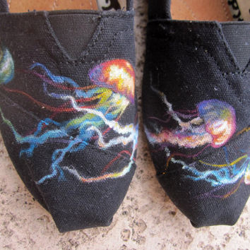 Colorful Jellyfish Painted TOMS