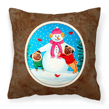 Snowman with Pug Winter Snowman Fabric Decorative Pillow 7115PW1414