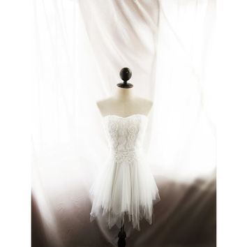 Great Gatsby Alice in the Wonderland Romantic White Elven Rosette Dress Rehearsal Dinner Tulle Rose Lace Ethereal Whimsical Ballerina Dress