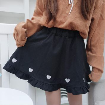 Preppy Style Heart Embroidery Skirt