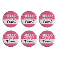 Tami Hello My Name Is Plastic Resin Button Set of 6