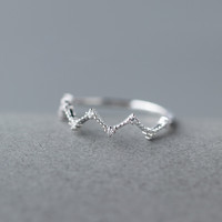 Lovely wave 925 sterling silver zircon ring ,a perfect gift