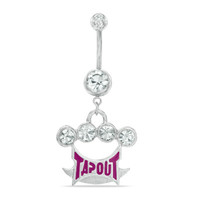 014 Gauge Crystal Brass Knuckle with Pink TAPOUT Dangle Belly Button Ring in Stainless Steel - - View All - PAGODA.COM