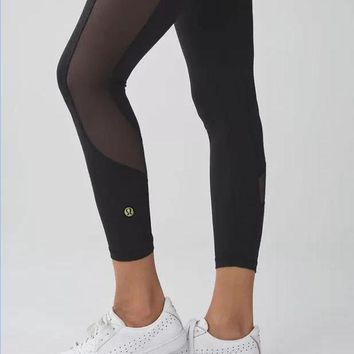 DCCKWV6 lululemon' Fashion Print Exercise Fitness Gym Yoga Running Net yarn Leggings Sweatpan