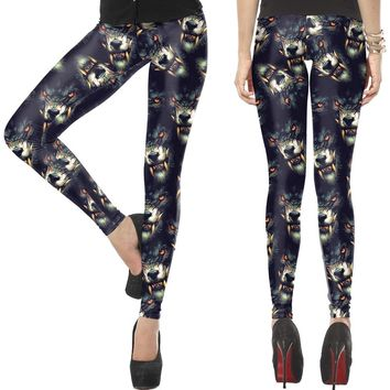 Space Wolf Full Print Punk Yoga Pants Harajuku Rock Women Legging Fitness Running Tights Stretchy Wolf Sports Trousers Halloween