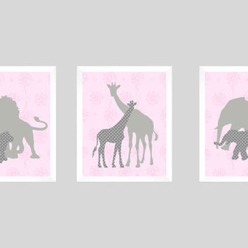 Safari Animals Pink and Gray Print, Girl Floral, CUSTOMIZE YOUR COLORS, 8x10 Prints, set of 3, nursery decor nursery print art baby decor