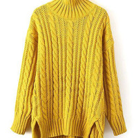 Asymmetric Cable Knit Sweater in Yellow