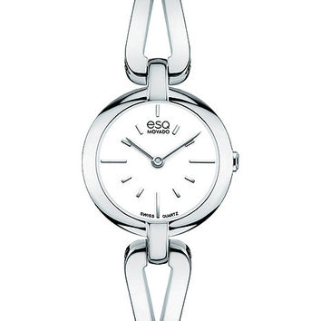 ESQ Movado Womans Corbel Bangle-Style Watch - White Dial - Stainless Steel