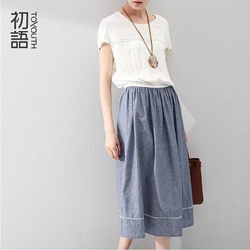 Toyouth Fashion Women Summer Pencil Patchwork Long  Dress High Waist Batwing Sleeve Loose Day and Night Casual Dress