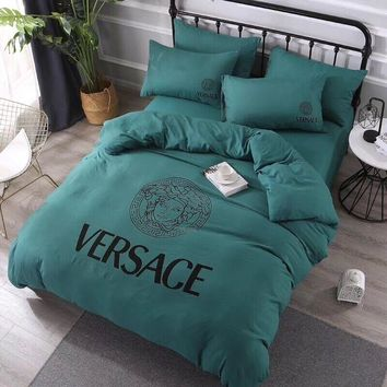 VERSACE Comfortable Soft 4 Bedding Set Conditioning Throw Blanket Quilt For Bedroom Living Rooms Sofa