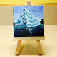 Miniature Landscape Iceberg Painting in Acrylic on Tiny Canvas