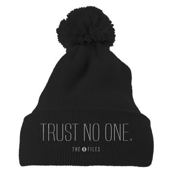 Trust No One The X Files Embroidered Knit Pom Cap