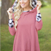 Plaid Patchwork Hoodie Loose Sweatershirt