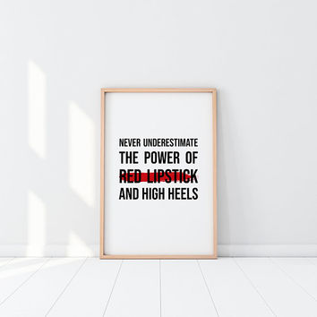 Lipstick Printable Makeup Print Motivational Poster Fashion Wall Art High Heel Decor Office Decor Makeup Wall Art Girl Power Girly Quotes