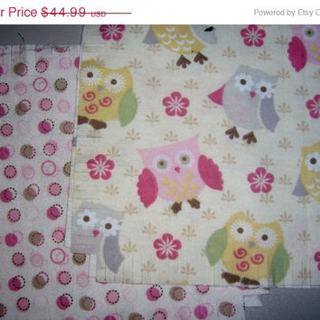 "Flannel rag quilt kit Owls Flowers Dots Baby girl  fringed die cut  fabric squares batting ready to sew complete 39""x39"""