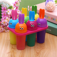 Cute Rabbits Shape 6 Lattice Ice Cream Sticks Home DIY Popsicle Molds Ice Cream Maker Children Summer frozen ice cube