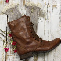 NORDIC LACE button boot socks - oatmeal