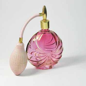 French Perfume Bottle Flashed Cranberry Glass Crystal Atomizer Boudoir Pink Art Deco Style Scent Fan Shape