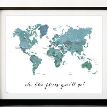 Custom quote, color & size PRINTABLE world map with countries names, distressed vintage texture travel art, map138