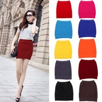 HDE Women's Candy Color Ribbed Stretch Slim Fit Mini Tube Bodycon Bandage Skirt (Crimson)