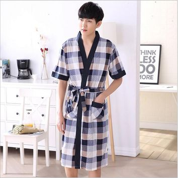 Today Special Men's Striped Mens Robe Half Sleeve Shawl Collar Bathrobe Men Knitted Cotton Sleep Lounge Robes Male Kimono Robe