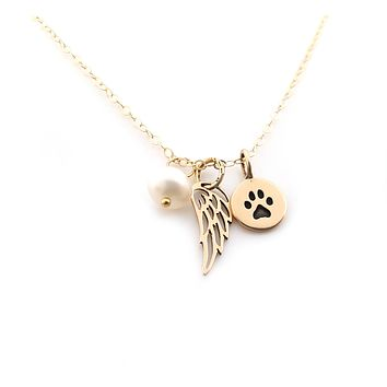Paw Print Angel Wing Memorial Necklace - Pet Loss Necklace - 14k Gold Filled - Memorial Jewelry