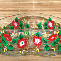 Hand Painted Heart Bowl With Red Flowers
